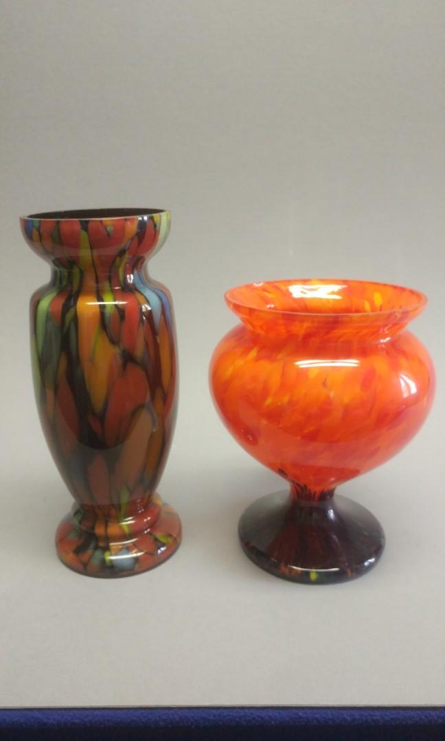 Vintage Czech Art glass - 2 vases