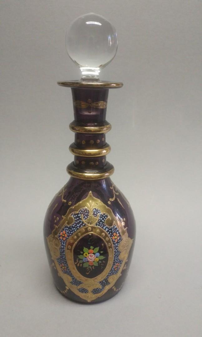 Vintage hand-blown Bohemian Art Glass decanter