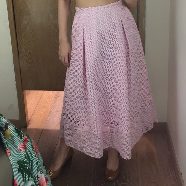Warehouse midi skirt pink