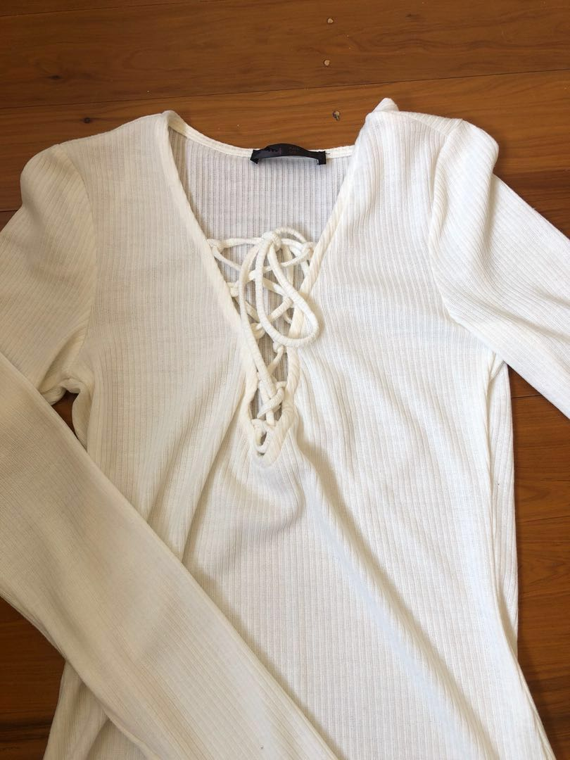 White Long Sleeve Lace Up Top Size S