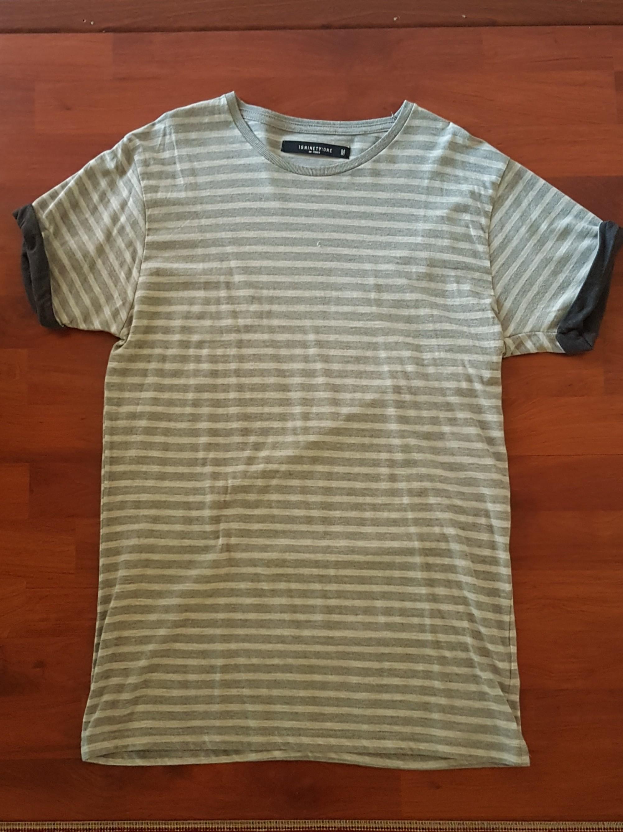 White/Grey Striped Tshirt - Cotton On