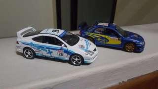 Honda Integra and Subaru Impreza WRC