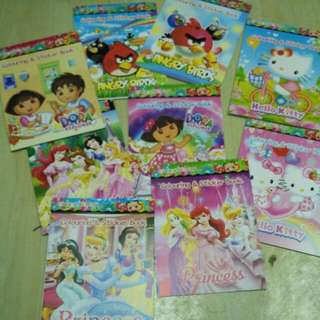 Cartoon Mini Colouring & Stickers Book For Birthday Party Goodies Loot Bag, Children Days Present Gift