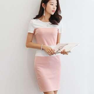 Pastel Block Coloured Korean Style Trendy Slim Dress