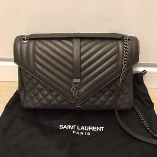 YSL LARGE ENVELOPE CHAIN BAG IN GREY