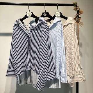 Plus Size Plus size Women Korean back straps V-neck loose large size striped headdress shirt women