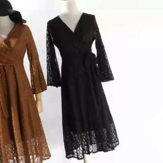 Instock / Lace Midi Maxi Long Sleeve Wrap Dress in Black