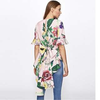 PO - Floral Print Tie Back Frill Blouse