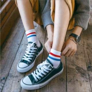🚚 短襪中筒襪學生襪線條兩槓
