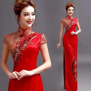 Ladies Bride Wedding Red Cheongsam Embroidered Sequin Dress Gown