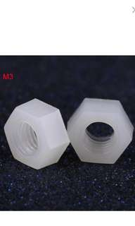 1Pcs M3 Nylon Hex Nut Metric Thread Hexagon Fastener Professional Hardware White