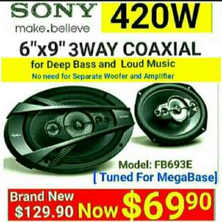 "SONY 6""x9"" Car Speakers 3 Way 420watts Coaxial Speaker. The most powerful speakers for your car without the need for separate Amp + Woofer. Model:FB693E. Usual Price: $ 129.90. Special Price: $69.90 ( Brand New In Box  & Sealed)"