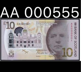 ⭐️ 2016 Scotland Charity Auction Prefix - AA 000555 ! AA Prefix Can Send For PMG For Charity Auction Serial Label - The Upgraded Status For This Fancy Auction Serial, Good To Match 000555 Collection  ⭐️