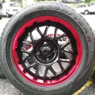 Sparco rally 14 inch sports rim saga flx tyre 70%. Pergi pantai sumpit burung, call satu kali kasi jadi kita sarung!!!