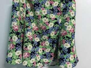 Forever 21 Floral Skirt with Frilled Hem