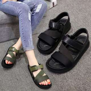(35~40) Roman sandals women's summer shoes in Korean flat with wild thick bottom with sponge cake