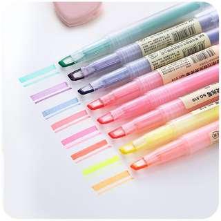 彩色双头荧光笔标记笔  韩国糖果色重点记号笔 固体银光笔闪光笔