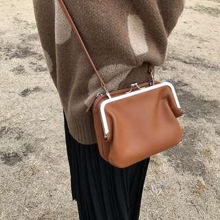韓國休閒雙層拉鍊包小方包斜背包包口金包