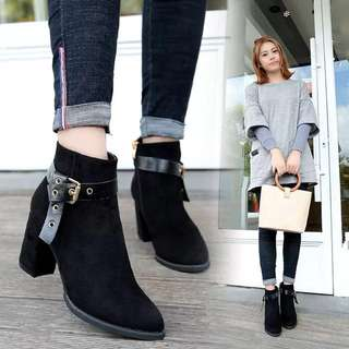 Belt buckle shorts womens shoes rough with the new 2017 autumn and winter high-heeled shoes barefoot British wind matte leather Martin boots