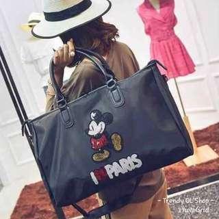 TRAVEL BAG HAND BAG CAN BE SLiNG BAG MiCKEY MOUSE PRiNTED