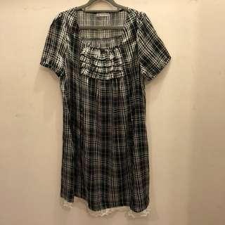 復古黑白格仔連身裙vintage checked ruffles lace silky dress