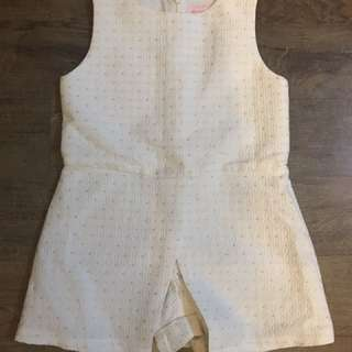 Gingersnaps romper - white with gold dots