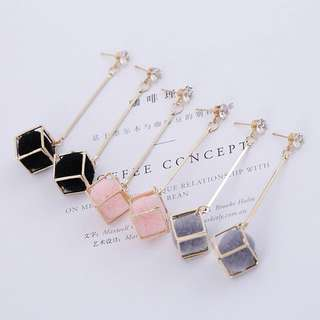Korean Cube Pom Pom Earrings ~FASH~