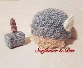 Knitted Beanie. Thor. Newborn Photography. Handmade baby