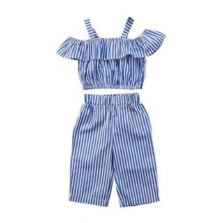 2 pieces Off Should Striped Novelty Top with Pants