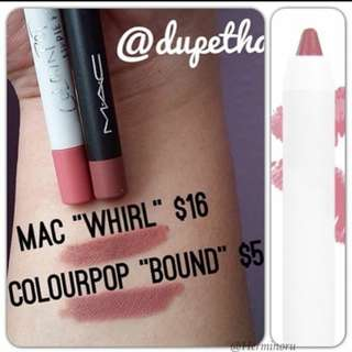 Colourpop bound lippie pencil lip liner, whirl Mac dupe