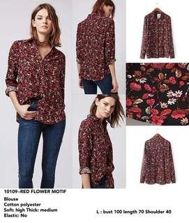 Kemeja Merah Motif Bunga Merah