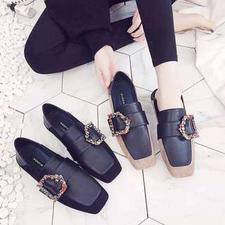 (35~42) 2018 Peas shoes square head flat-bottomed scoop shoes extra large shoes non-slip shoes