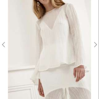 C/MEO COLLECTIVE evoke long sleeve and skirt in white FOR RENT