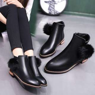 (35~44) Autumn and winter models British style flat bottom boots plus cashmere Martin boots