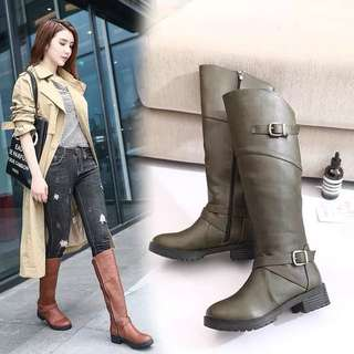 (35~43) Autumn and winter knee boots women's boots thick with long tube high boots big boots large size