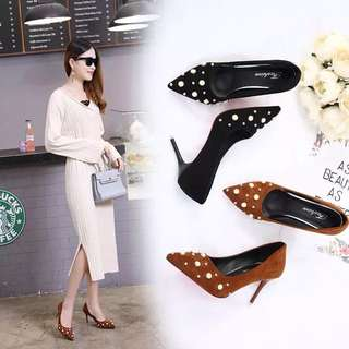 2018 Spring and Autumn Korean pointed shoes fine with suede pearls high heels shallow mouth with wild single shoes female