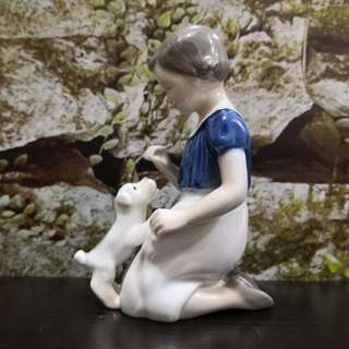 vintage Royal Copenhagen girl playing with dog figure