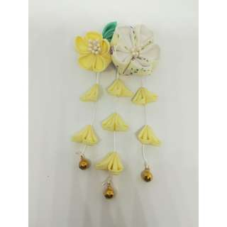 Japanese double yellow flower hair clip