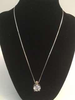 Vintage 925 silver chain & large zirconia pendant