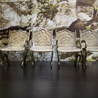 Brass miniature chairs set of 4