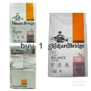 Buy 1 get 1! Makanan kucing premium nature bridge kitten 1,5kg