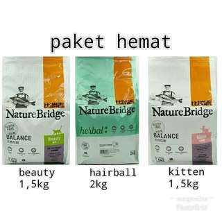 Paket hemat makanan kucing nature bridge beauty, hairball, kitten