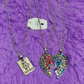 Family, Dad, Mom and Daughter Necklaces
