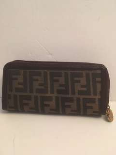 Authentic vintage Fendi zucca zip wallet