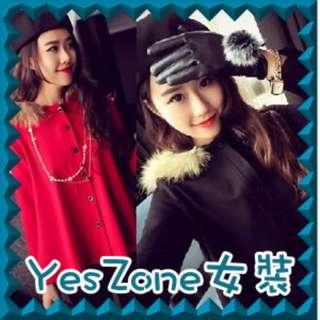 Yes Zone 日韓台女裝716-8116新款韓版名媛氣質連帽毛領斗蓬開衫小外套 紅黑2色