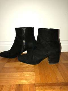 Black Suede Booties Size: 6