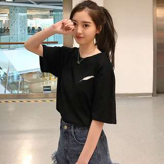 [po] tumblr ulzzang embroidered feather tee