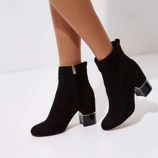 River Island Black block heel gold trim ankle boots
