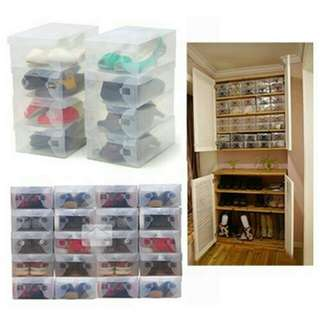 10 x Clear Plastic Shoe Storage Boxes