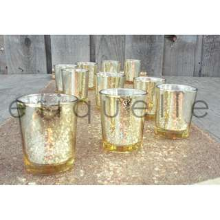 ED18041 GOLD MERCURY GLASS CANDLE HOLDER